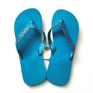 Turquoise Blue Glitters Flip Flops Thong Style, L